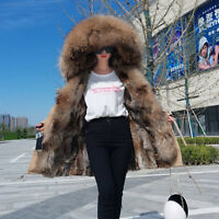 Women's Real Raccoon Fur Collar Hood Coat Rabbit Liner Long Jacket Fur Trim Coat