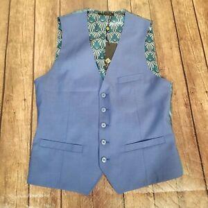 NEW Ted Baker London Debonair Waistcoat Vest Mens Size 36R Blue Wool Modern Fit