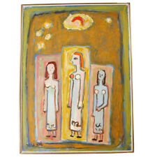 Genia Berger Three Women Figures Oil on Canvas Signed Framed Painting