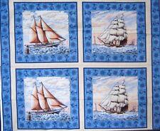 "34"" Fabric Panel - Springs CP34973 Port of Call Antique Ship 4 Pillowcase Blocks"