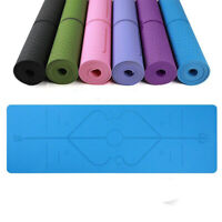 Yoga Mat With Alignment Lines Non Slip Eco Friendly TPE Fitness Exercise Carpet