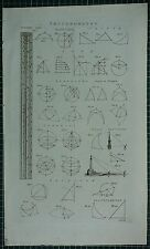1786 PRINT ~ TRIGONOMETRY VARIOUS DIAGRAMS TRIANGLE SPHERICS GUNTERS SCALE