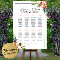 Personalised Wedding Seating Table Plan Christmas party Floral Rose & Neutral
