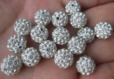 100pcs/lot 10mm white micro pave disco crystal shamballa beads bracelet spacer
