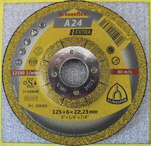 "Klingspor Kronenflex A24 Extra Grinding Discs 125mm x 6mm x 22.23mm / 5"""