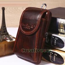 Men Leather Cell Phone Cover Case Belt Bum Pouch Hook Purse Fanny Pack Waist Bag