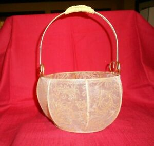 GOLD FABRIC w METAL FRAME BASKET!   A++ COND!   LOVELY & DELICATE!   BUY IT NOW!
