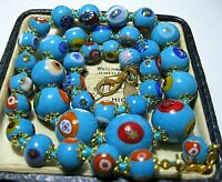 Turquoise Millefiori Venetian Murano Glass Bead Graduated Vintage Style NECKLACE