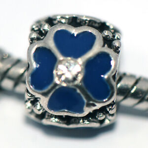 Silver Flower Blue Crystal Bead Charm Fit Eupropean Chain Bracelet Make Jewelry