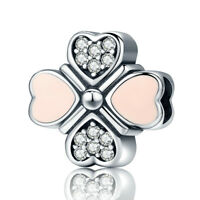 Lucky Day .925 Sterling Silver Flower Pink Love European Charm Bead w Clear CZ