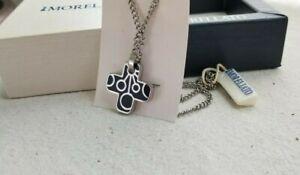 Morellato Unisex Necklace Stainless Steel Black Enamel Abstract Design on Cross