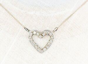 Vintage 14K .585 Solid Yellow Gold Diamond Estate Heart Love Necklace Pendant