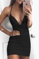 Halter mini dress sling low cut spaghetti strap sleeveless sexy black dress