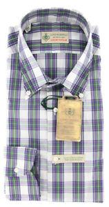 $375 Luigi Borrelli Purple Plaid Shirt - Extra Slim - (GB8705)