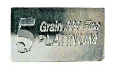 1/3 Gram .999 Fine Platinum Bullion Bar - in Assay Card