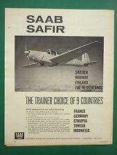 4/1961 PUB AVION SAAB SAFIR TRAINER SUEDE SWEDEN INDONESIA TUNISIA AIR FORCE AD