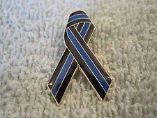 Thin Blue Line Ribbon Pin Memorial Support Lapel Badge Thin Blue Line Cops TBL