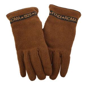 FENDI Logos Women's Gloves Brown Black 100% Polyester #L Vintage 01454