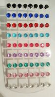 Joblot 36 Pairs Mixed colour round 8mm Crystal stud Earrings New wholesale