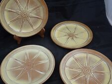 "FRANKOMA POTTERY Set of 4 - 9"" Desert Gold WAGON WHEEL DINNER PLATES #94F"