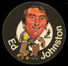 1973-74 MAC'S MILK NHL ED JOHNSTON BRUINS NM CLOTH STICKER HOCKEY DISC CARD