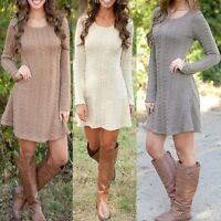 WomenLongSleeveJumperDressSweaterCocktailEveningPartyMiniDress   LHM15