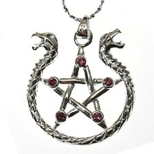 Amphisibaena Pentagram Serpent Silver 925 Pendant Necklace Mythical Anne Stokes