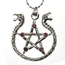 Amphisibaena Pentagram Serpent Silver 925 Pendant Necklace Mythical Anne Stokes
