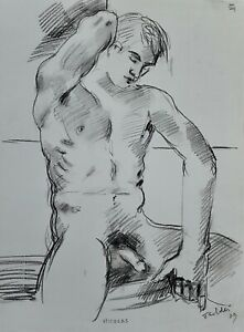 """""""MALE NUDE MODEL (Seated)"""", Drawing by Richard Taddei 2009"""