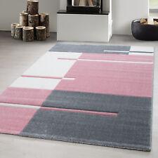 Designer Teppich kurzflor,Wohnzimmerteppich,Konturschnitt Linien Kariert,PINK