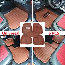 5x Universal Brown Car Leather Floor Mat FloorLiner Front&Rear Carpet Waterproof