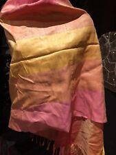 Vintage Thai Silk Peach Yellow Wrap Shawl