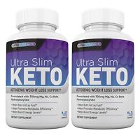 Ultra Slim Keto Diet Pills (2 Bottles) for Weight Loss, Slimming + Fat Burner