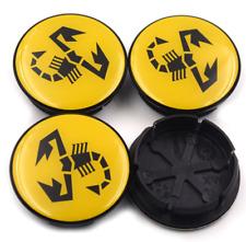 4x50mm Wheel Center Caps For FIAT Abarth Multipla Punto Hub Caps Rim Caps Yellow