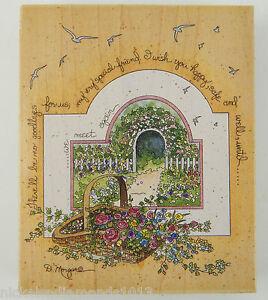 "Basket of Flowers ""Until we meet again"" #90013 Rubber Stamp 4.5"" x 5.5"""