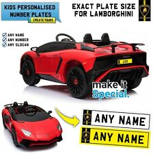 Ride On Lamborghini SV Personalised Number Plate For Kid Electric Car Exact Size