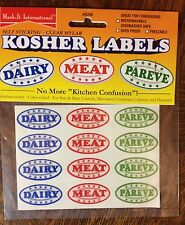 Kosher Labels Stickers Meat Dairy Pareve Jewish 24 stickers Mark-It