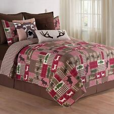 Happy Camper Queen Size 3 Pc Quilt Set-Quilt+2 Shams-Deer Quilt Reversible C&F