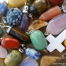 BULK LOT 10pcs Mixed Gemstone Crystal Healing Necklace Pendant Quartz Stone Rock