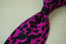 Santostefano Coal Black Bright Pink Ink Blot Animal Print WILD SEXY Silk Tie