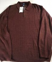 Dockers Sweater Mens XL Extra Soft Acrylic Cayenne Red 3 Button Polo Pullover