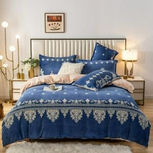 Flannel Bedding Set 4pcs Soft Duvet Cover Twin Double Queen Bed Sheet Pillowcase