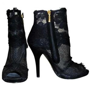 DOLCE & GABBANA `GOLD LABEL` Lace open toe Ankle boots US: 7-7.5 ; EU: 37.5