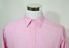 J CREW Men's 100's 2-Ply Long Sleeve Dress Shirt Size 16 to 16 1/2 Pink Stripe
