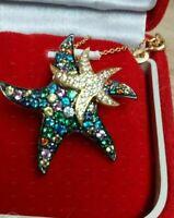 "2Ct Multi Sapphire & Diamond Starfish Pendant Necklace 14k Yellow Gold Fn 18"""