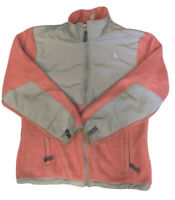 The North Face Girl's Pink And Gray Polartec Full Zip Denali Fleece Size Large