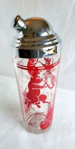 VNTG Glass Pink Dancing Pigs Bar Ware Cocktail Shaker L16 (W13) LAST PRICE DROP!