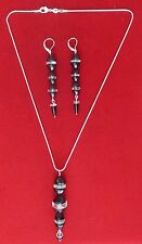 Vintage Art-Deco Sterling Silver - French Jet - Crystal  Jewelry Set