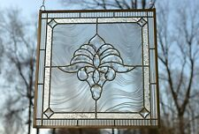 "Handcrafted stained glass Clear Beveled window panel 20.5"" x 20.5"""