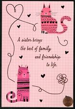 Valentine Pink Cats - Red Shine For Sister Large - Valentine's Day Greeting Card